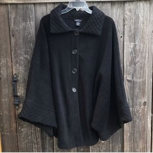 VINTAGE Black Fleece Button Up Poncho One Size